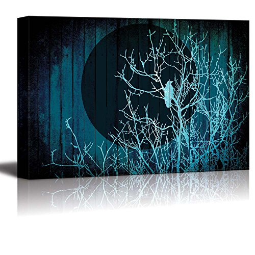 Silhouette of Branches with a Crow in Front of the Full Moon Over Blue Wood Panels with a Vignette