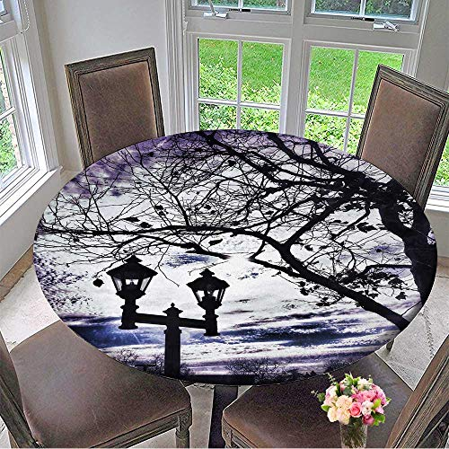 """Mikihome Chateau Easy-Care Cloth Tablecloth Lamppost with Two Lanterns and Tree Branches Beneath A Purple Winter Sky for Home, Party, Wedding 40""""-43.5"""" Round (Elastic Edge)"""