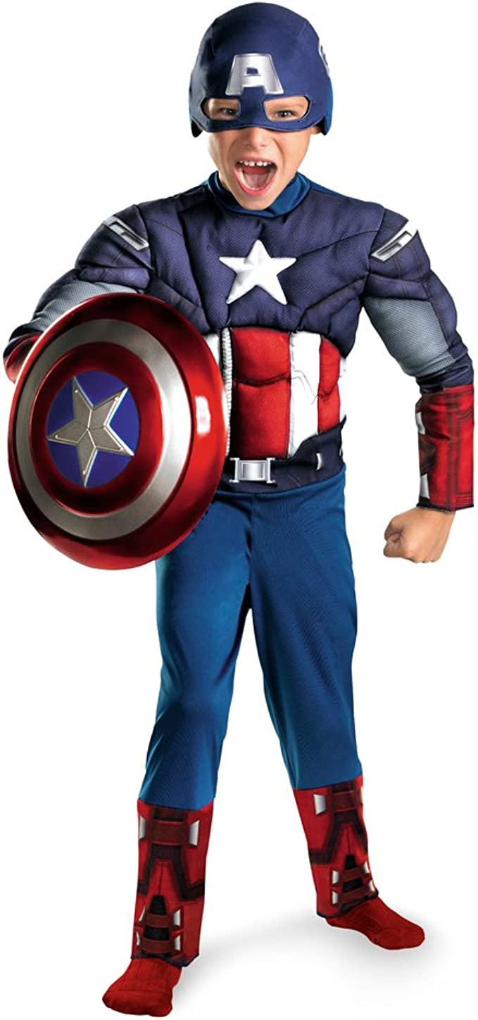 Rubies Boys Child Marvel Deluxe Captain America Muscle Chest Costume Multicolor, Large