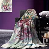 smallbeefly Watercolor Digital Printing Blanket Oriental Dance Theme Young Girl Performing in Traditional Costume Fantasy Figure Summer Quilt Comforter Multicolor