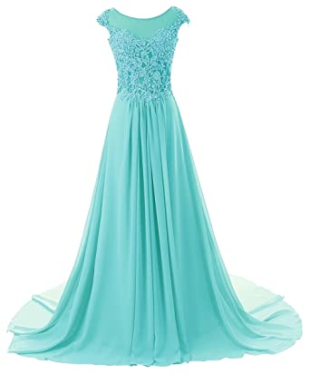 009a34e6e73 Prom Dresses Long Evening Gowns Lace Bridesmaid Dress Chiffon Prom Dress  Cap Sleeve Baby Blue US2