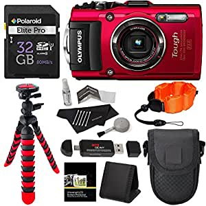 "Olympus TG-4 16 MP Waterproof Digital Camera with 3-Inch LCD (Red) + Lexar 32GB Memory Card + 12"" Tripod + Camera Case + Polaroid Floating Foam Strap + Cleaning Kit + Kit Accessory Bundle"