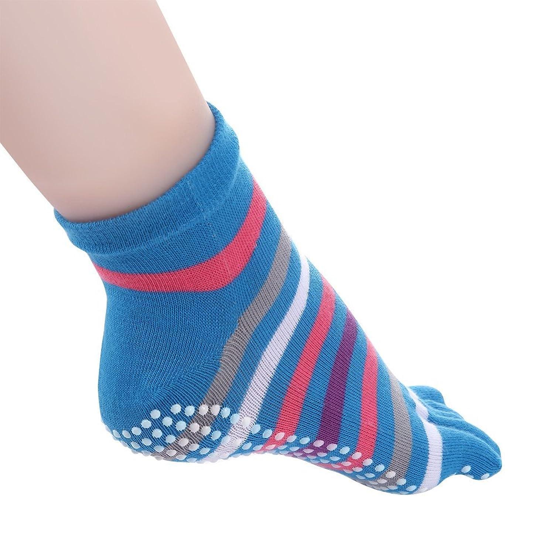 Cosfash Yoga Socks Non Slip Skid Toe Grips for Pilates Barre Women 2 Pack