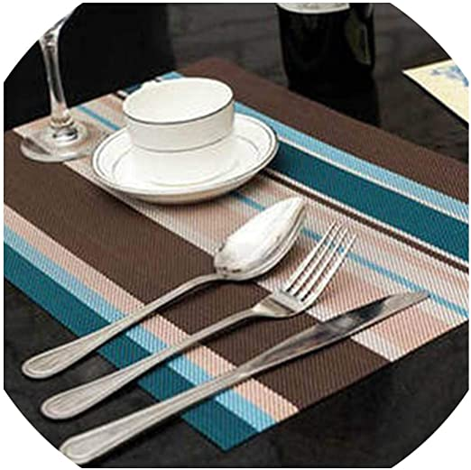 Amazon Com Fat Big Cat 3045cm Non Slip Pad Kitchen Accessories Stripe Pattern Dining Table Mats Oil Proof Table Placemat Heat Insulation Waterproof Blue Home Kitchen