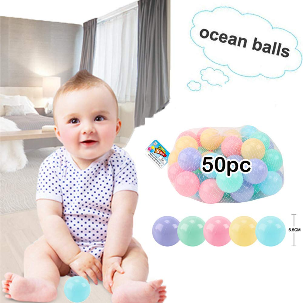 Staron  Plastic Kids Play Balls – Colorful Children Marine Ball Non Toxic , Ideal for Baby or Toddler Ball Swimming Pit Play Toy Gift , Indoor Playpen & Parties, 50pc / Set (Multicolor)