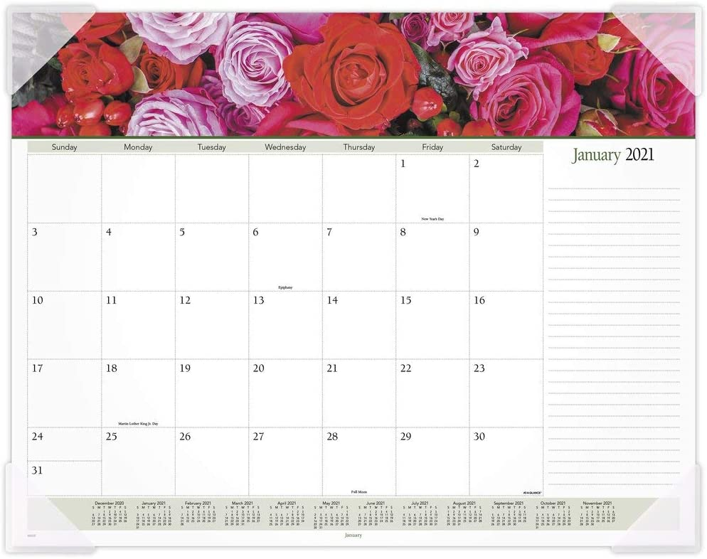 "2021 Desk Calendar by AT-A-GLANCE, Monthly Desk Pad, 21-3/4"" x 17"", Standard, Panoramic, Floral (89805-21)"