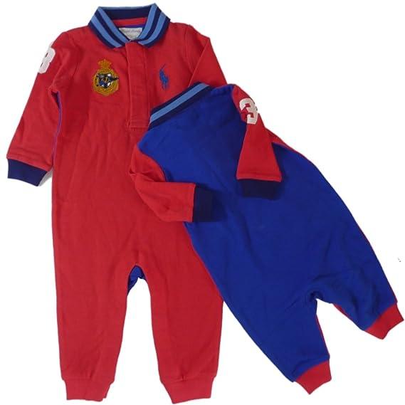 Ralph Lauren Baby Pelele Mono Joven Big Pony Polo Jinete Rojo Azul rot blau Talla:74: Amazon.es: Bebé