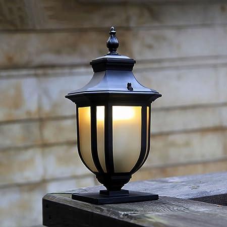Meidn Exterior antiguo Design Post Baliza Luz Europea Patio Jardín poste ligero impermeable de aluminio de cristal de pedestal luz E27 cableado externo del anuncio Comunidad decoración de la lámpara d: Amazon.es: