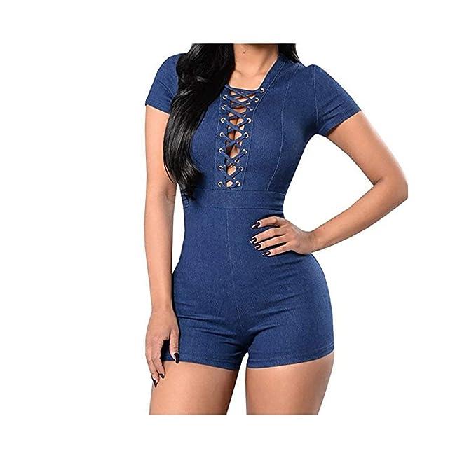 Amazon.com: wearfity Mujer Verano Body de encaje Up Bandage ...