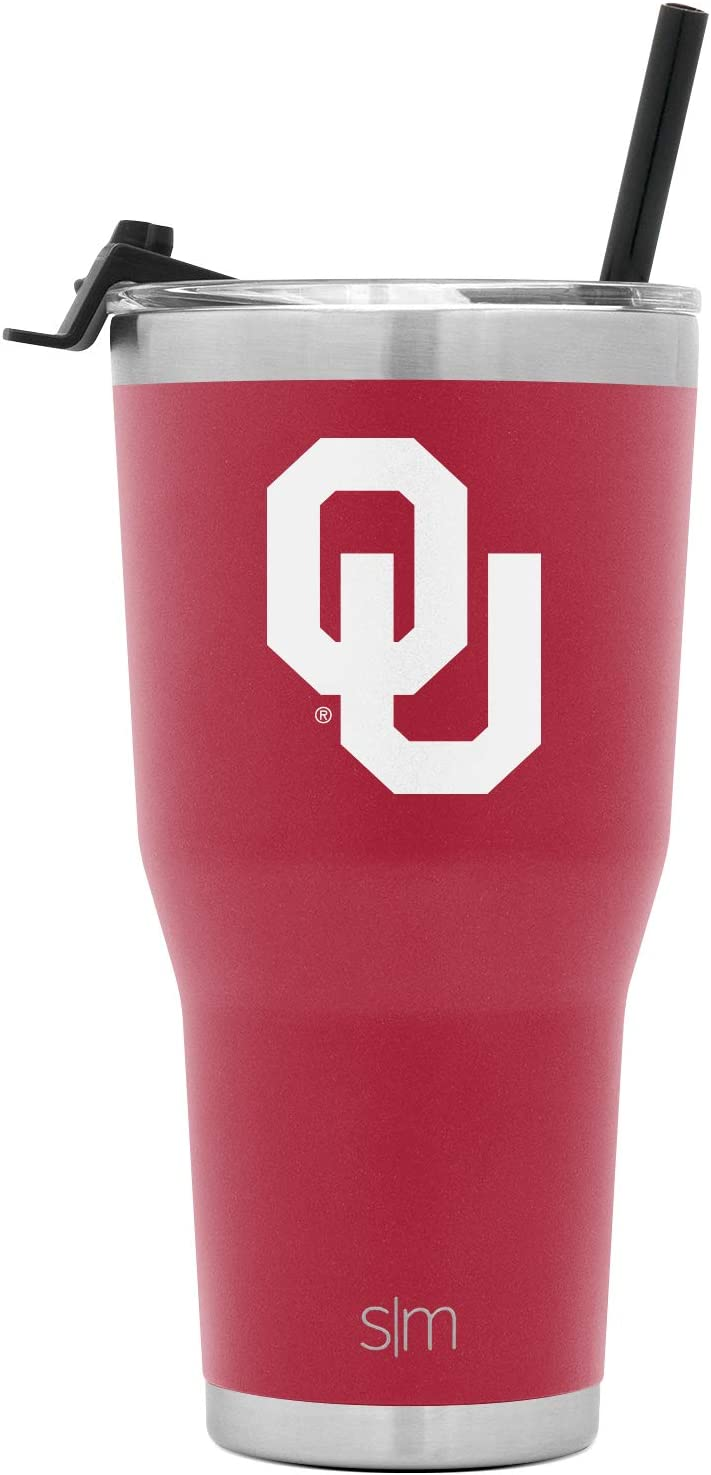 Simple Modern College 30oz Cruiser Tumbler with Straw & Closing Lid - Oklahoma Sooners - 18/8 Stainless Steel Vacuum Insulated NCAA University Cup Mug