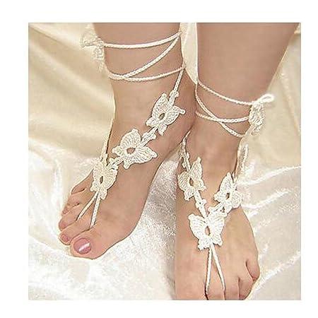 TT\u0026SHOUSHI Farfalle uncinetto braccialetto di cotone catena della caviglia  di nozze della spiaggia delle donne sandali a piedi nudi, green Amazon.it  Sport