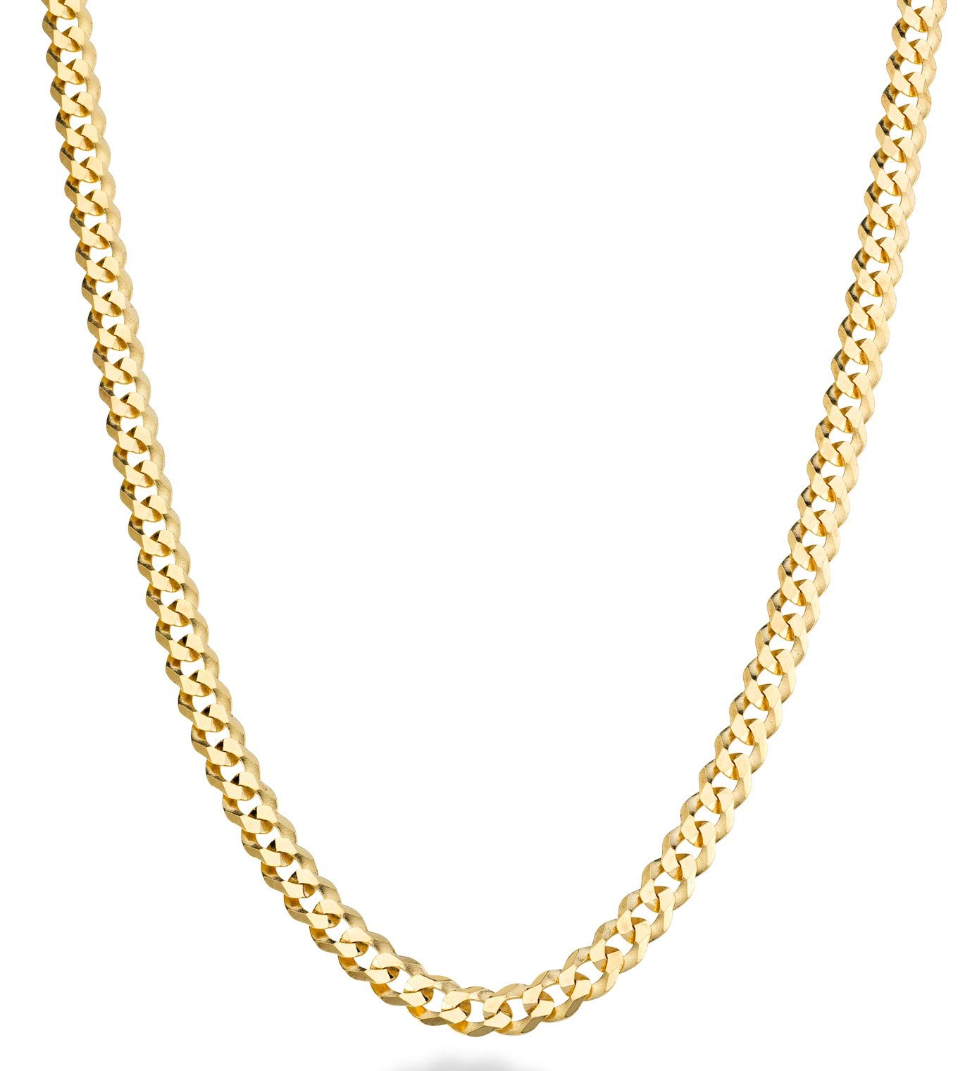 MiaBella Solid 18K Gold Over Sterling Silver Italian 5mm Diamond-Cut Cuban Link Curb Chain Necklace for Women Men, 16''-18''-20''-22''-24''-26''-30'' (26)