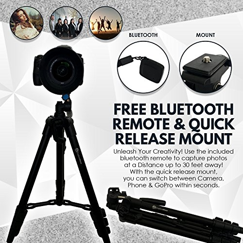 Lightweight Travel Tripod 48 Inch | Bluetooth Remote, Phone Mount, GoPro Mount, Carrying Bag | Premium Aluminum | Digital Camera, Android, DSLR, iPhone X, 8, 7, 6 Plus, Samsung Galaxy | Photo, Video by Explore More Creative Co. (Image #2)