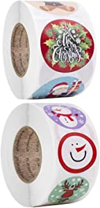 """1000 pcs 1"""" Merry Christmas Stickers Round Roll Label Great for Xmas Party, Goodie Bag, Winter Holiday Theme Decorations, Scrapbook, Cards Gift, Envelopes, Crafts, has Santa, Snowman for Kids"""