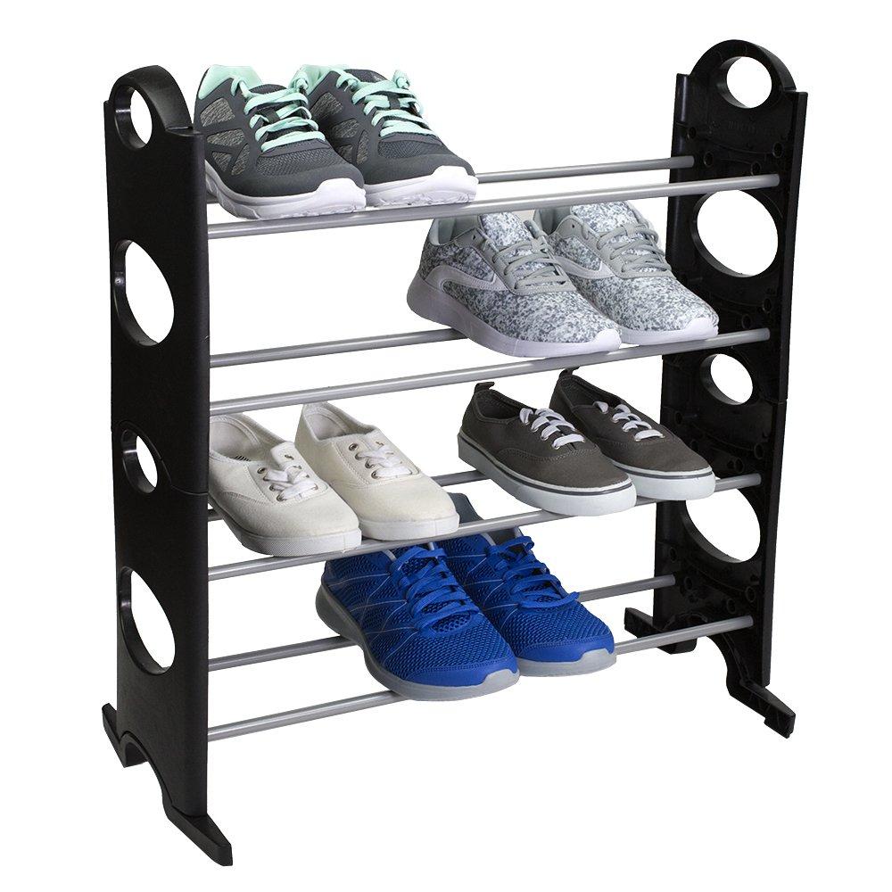 Home Basics Shoe Rack, 12-Pair, Black
