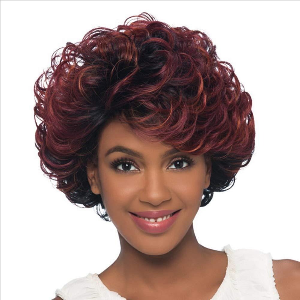 Parrucca Riccia Afro Breve Parrucche Ricci Crespi Per Le Donne Nere Parrucca Rossa Capelli Ricci Parrucche Sintetiche Afro-Americane Per Le Donne (Rosso)