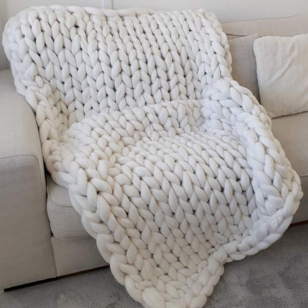 White 50x70in Super Chunky Blanket,Chunky Knit Blanket.Super Bulky Blanket,Cable Knit Throw,Chunky Knit Throw,Arm Knit Blanket,Giant Knit Blanket by Cozy Chunky Blanket (Image #2)