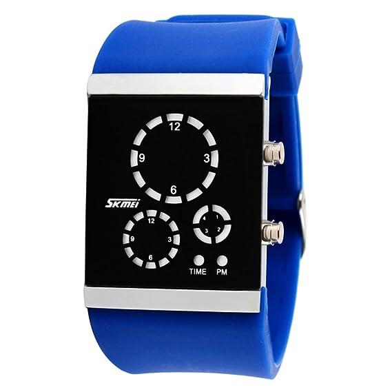 Pareja unisex jelly led electrónico deportivo relojes, Gran pantalla colorida del gel de silicona correa