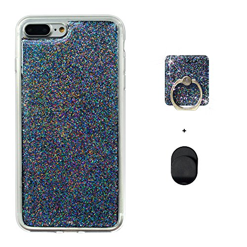 Brass Paper Smith iPhone 7 Plus Holographic Iridescent Glitter Hand Poured Acrylic Case (Gunmetal Black Holographic with Matching Phone Ring & Hook)