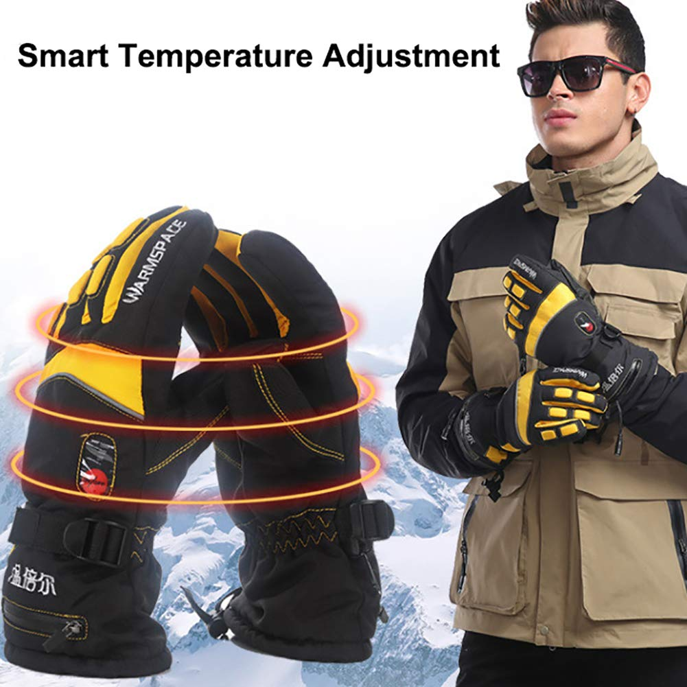 yanbirdfx Electric Heating Adjustable Waterproof Outdoor Skiing Unisex Winter Warm Gloves - US Plug Yellow XL