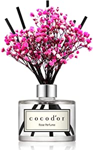 Cocod'or Preserved Real Flower Reed Diffuser, Rose Perfume Reed Diffuser, Reed Diffuser Set, Oil Diffuser & Reed Diffuser Sticks, Home Decor & Office Decor, Fragrance and Gifts, 6.7oz