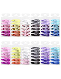 """QtGirl Snap Hair Clip Barrettes 72pcs 2"""" Girls Hair Clips with Pattern in Pairs"""