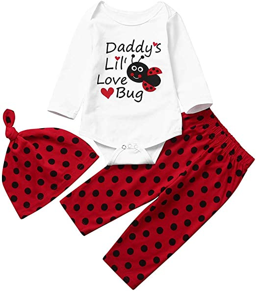 BURFLY Infant Toddler Baby Girl Long Sleeve Cute Cartoon Ladybird Print Dress Sweatshirt Top /& Trouser Set Outfit