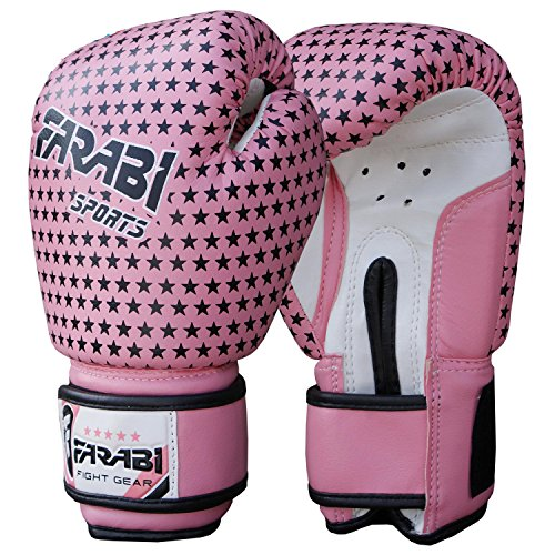 (Farabi Kids boxing gloves, junior mitts, junior mma kickboxing Sparring gloves 4Oz pink stars)