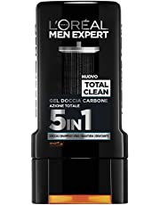 L'Oréal Paris Men Expert Total Clean Gel Doccia Uomo Carbone Azione Totale 5 In 1-300 ml