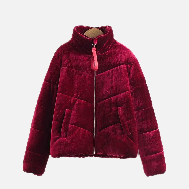Velvet Puffer Coat Women Warm Winter Thick Stand Collar Shortas Vintage Cotton Jacket Café