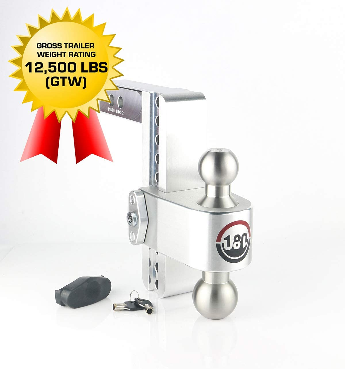 Stainless Steel Combo Ball Weigh Safe LTB8-2 2 /& 2-5//16 Adjustable Aluminum Trailer Hitch /& Ball Mount and a Double-pin Key Lock 8 Drop 180 Hitch w// 2 Shank//Shaft