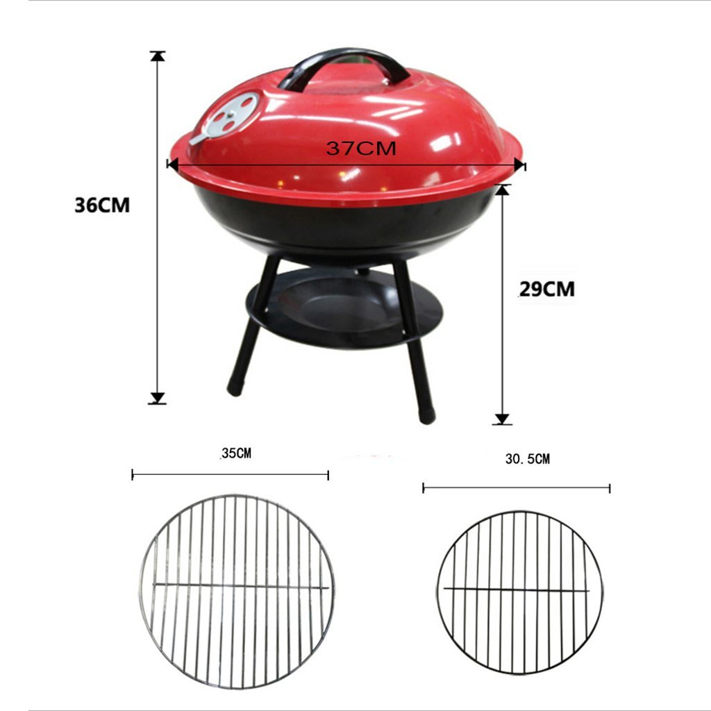 YI HOME- BBQ Enamel Outdoor Home Barbecue Stove Park Portable Charcoal Stove Roasted Brazier Grill Tools Red,S