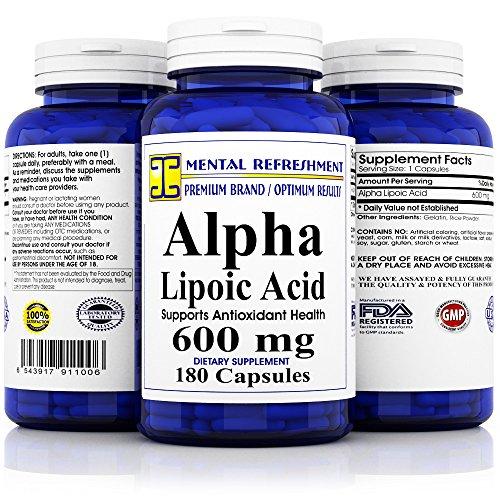 Mental Refreshment: Alpha Lipoic Acid 600mg 180caps (1 Bottle) by Mental Refreshment Nutrition