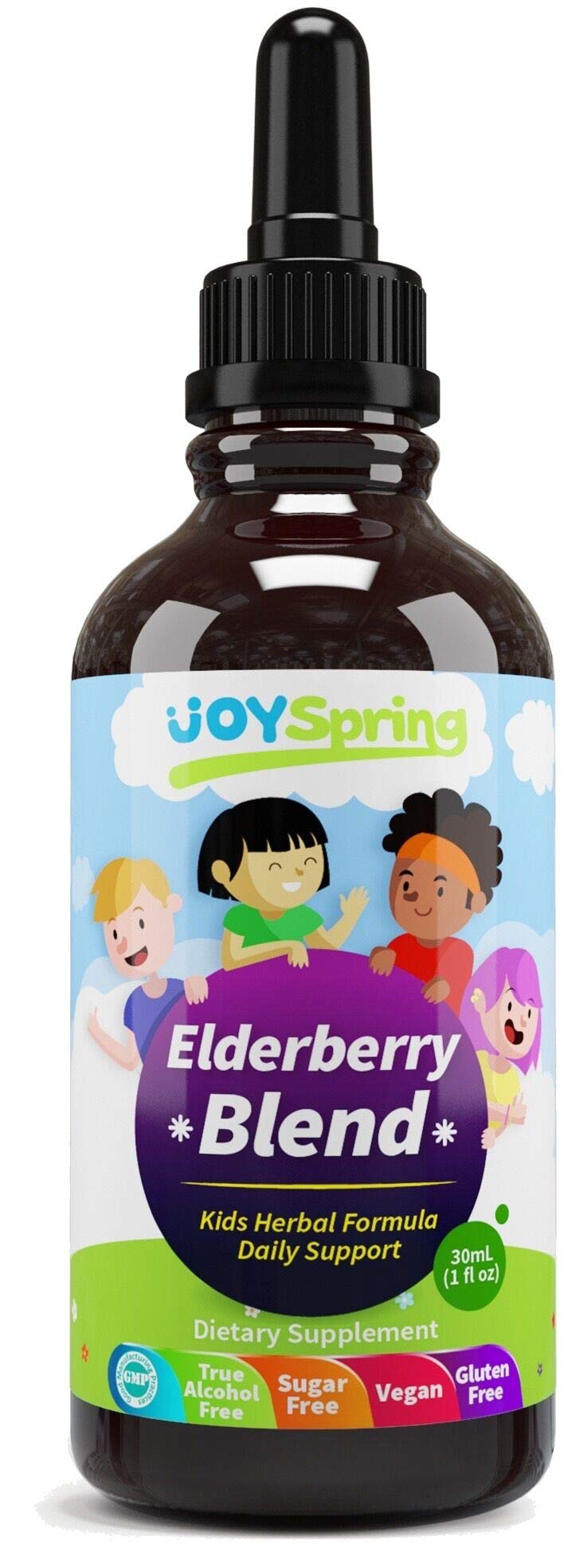 Organic Elderberry Syrup for Kids - Best Natural Kids Cold Medicine, Pure Elderberry Blend for Sickness Relief, 3x Stronger Vegan & Sugar-Free Formula to Strengthen Immune System & Avoid Getting Sick by JoySpring
