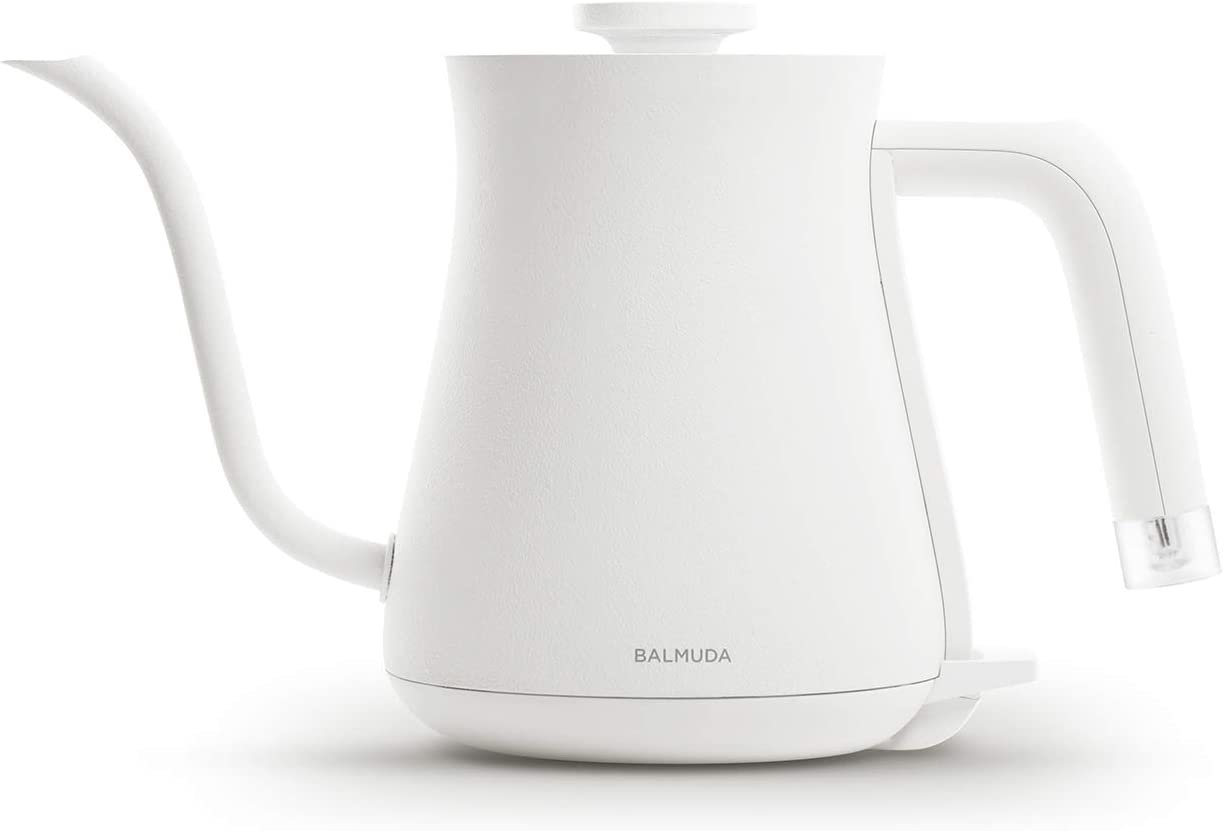 BALMUDA The Kettle | Electric Lightweight Gooseneck Kettle | Stainless Steel | 0.6L Capacity | Neon Light Indicator | Perfect for Tea and Coffee | K02H-WH | White | US Version