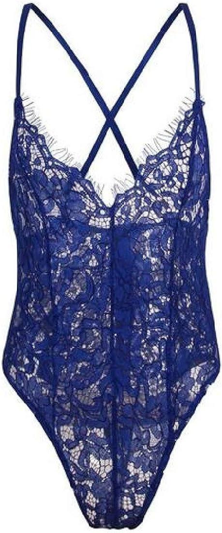 Zantt Womens Spaghetti Strap V Neck Lace Club Leotard Jumpsuit Bodysuit Top