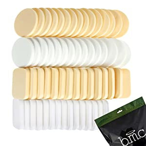 b.m.c 60 pc Latex Free Makeup Blender Sponges for Full Coverage Powder, Cream, Liquid Foundation Cosmetics - Long Lasting, Disposable Beauty Foam Applicator Puffs for Sensitive Skin Professional MUA