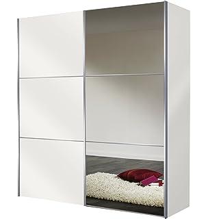 Express Möbel Kleiderschrank Schlafzimmerschrank Weiß 200 Cm Mit Spiegel, 2 Türig,  BxHxT 200x216x68