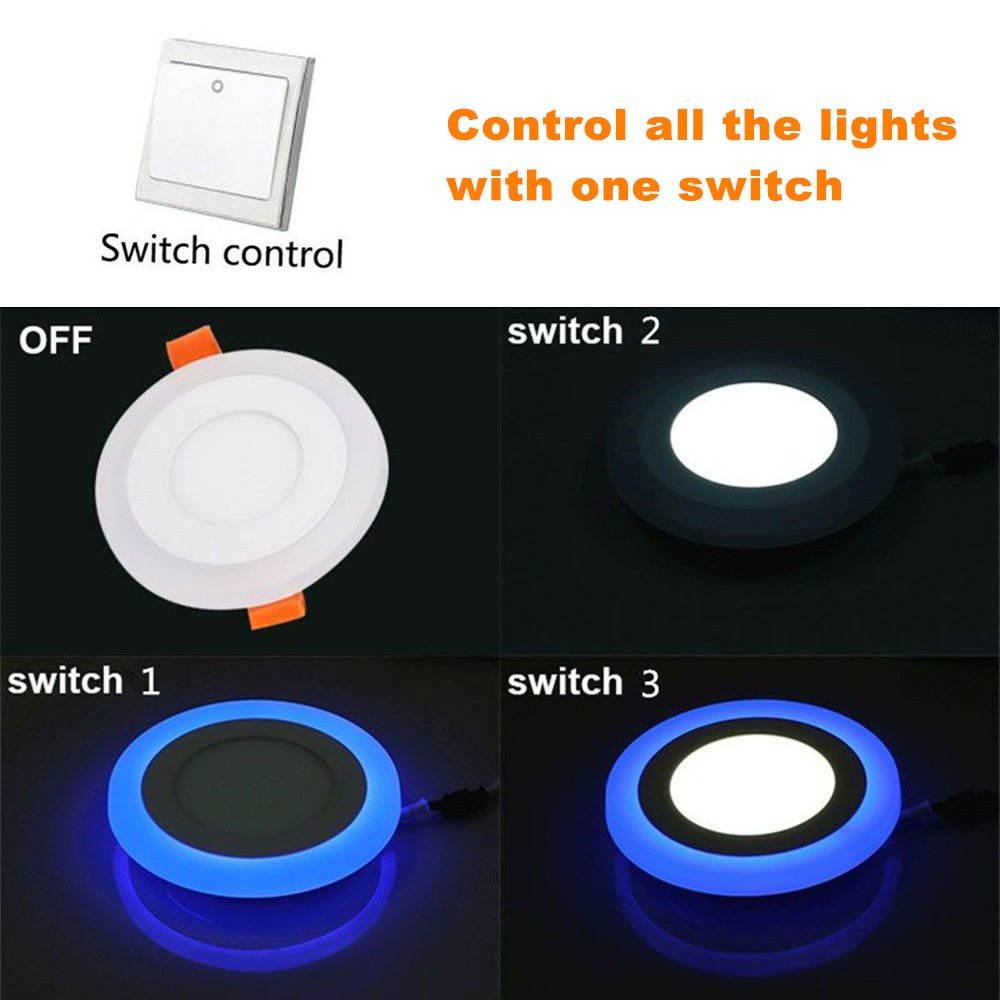 (2 Pack) Led Panel Light,BOLXZHU Led Ceiling Lights Round Double Color (Cool White+Blue),Ultrathin Led Recessed Lighting,(6+3) W Outer Diameter:150MM,Hole Size:110MM,6000-6500K,Led Downlights by BOLXZHU (Image #3)