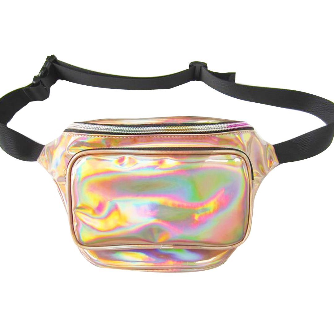 Orfila Hologram Fanny Pack PVC Transparent Laser Waterproof Waist Pack Bum Bags for Concert or Rave, Reflective Champagne Gold