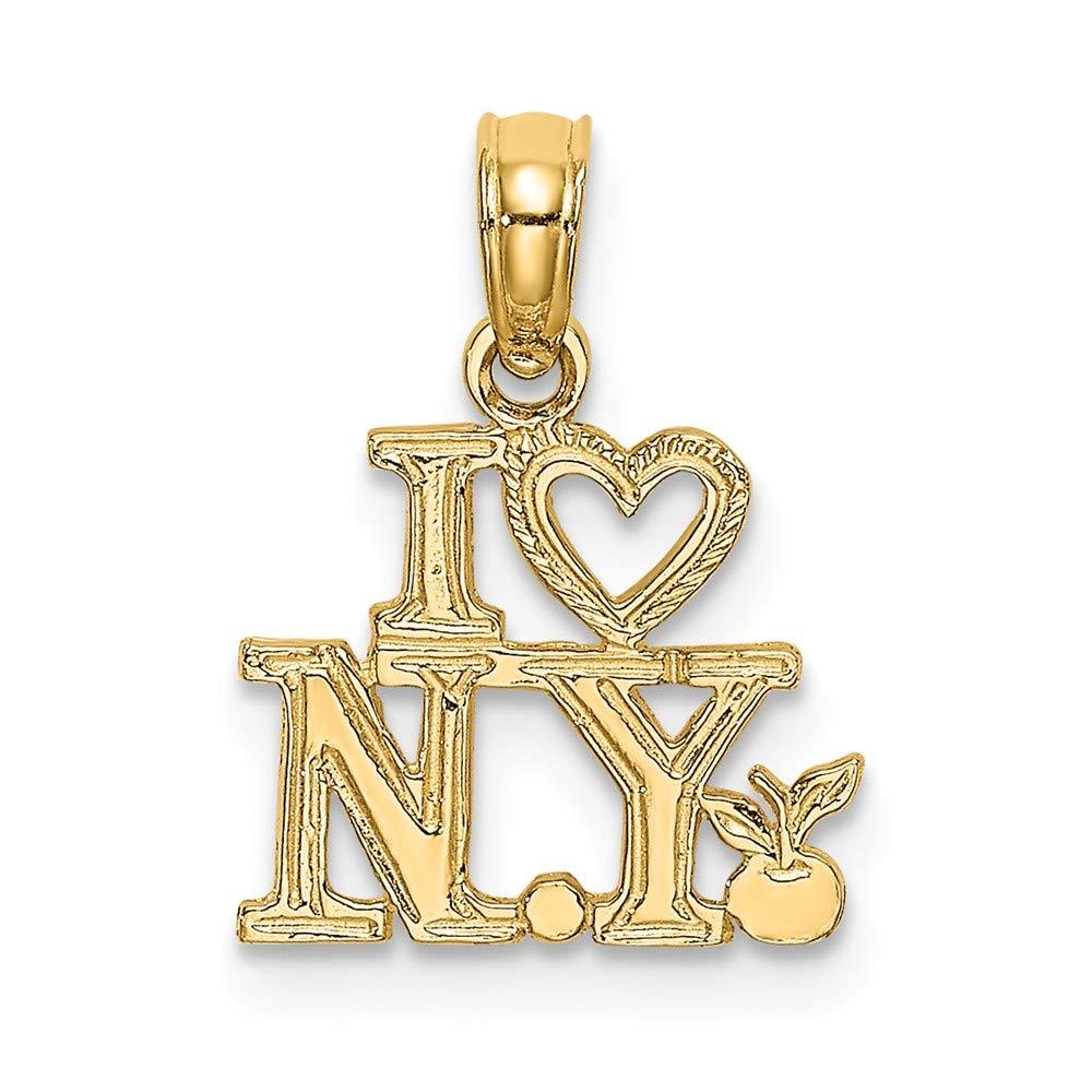 14K Yellow Gold I Heart NY New York Small Charm Pendant