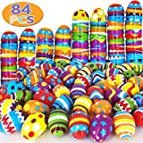 """heytech 84 Pcs Easter Eggs Plastic Printed Bright Easter Eggs 2 3/8"""" Tall for Easter Hunt, Basket Stuffers Fillers, Classroom Prize Supplies, Filling Treats and Party Favor, Gift for Kids, Boys, Girls"""