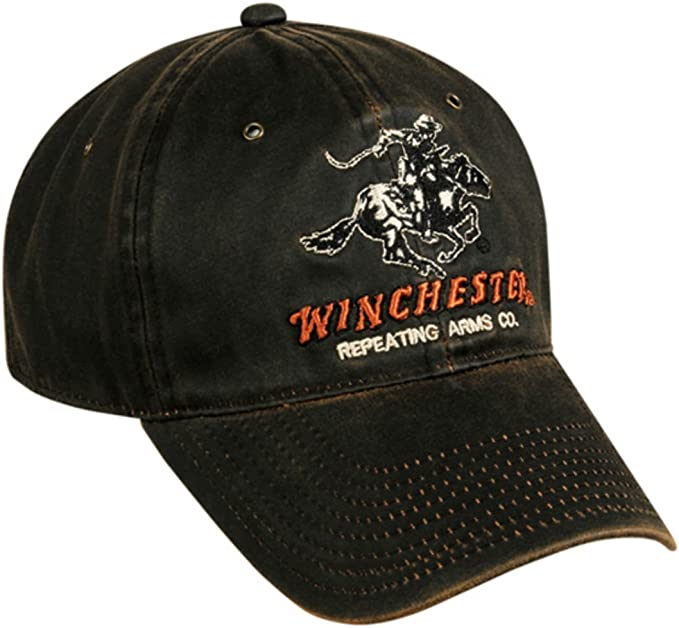 Winchester Horse and Rider Logo Cotton Twill Black Cap