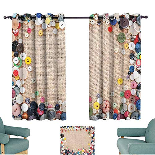 HCCJLCKS Warm Curtain Vintage Buttons Collection Fabric Texture Canvas Frame Sewing Needlecraft Contemporary Picture Durable W55 xL72 Light Brown