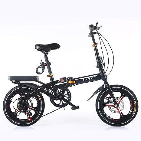 Best Roo 16 pulgadas Arrugas bicicleta Mini Hombres y Mujeres frenos de disco – Amortiguador Arrugas bicicleta Ultra Luz TRAG Baren Adulto Student bicicleta negro Talla:Three-knife wheel: Amazon.es: Bebé