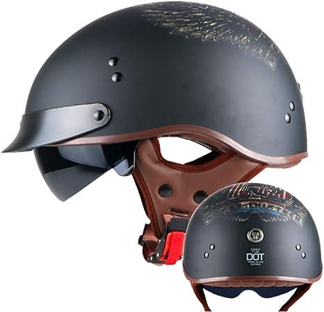 WVW Casco de Motocicleta Half-Helmet Harley Casco con Interior ...