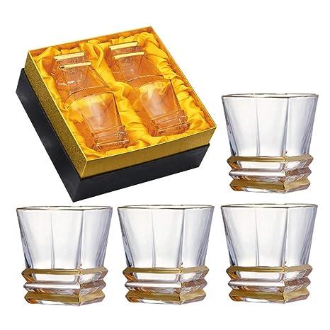 ZCXBHD Vasos Whisky Set 4 Cristalino 100% Sin Plomo Ultra ...