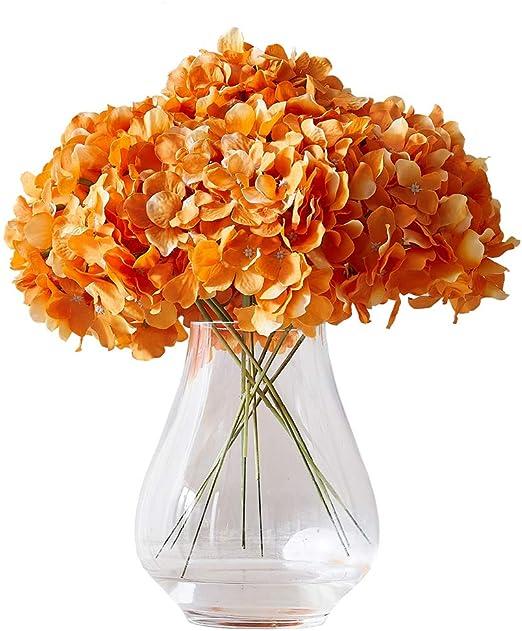 Amazon Com Kislohum Orange Hydrangea Silk Flower 10 Heads