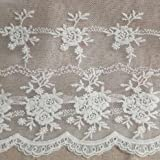 Creamy White 3 Yards Retro Floral Embroidered