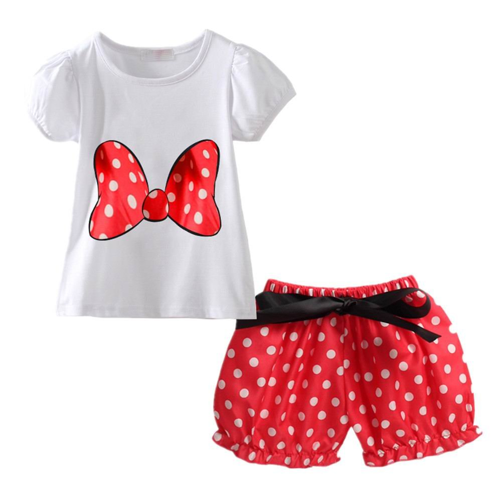 LittleSpring Little Girls Skirt Set Bow Dot